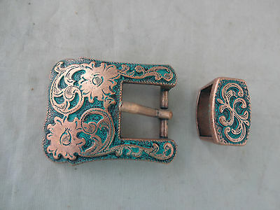 "Copper Turquoise Floral Engraved Buckle Loop Set 5/8"" Western Horse Tack Belt"