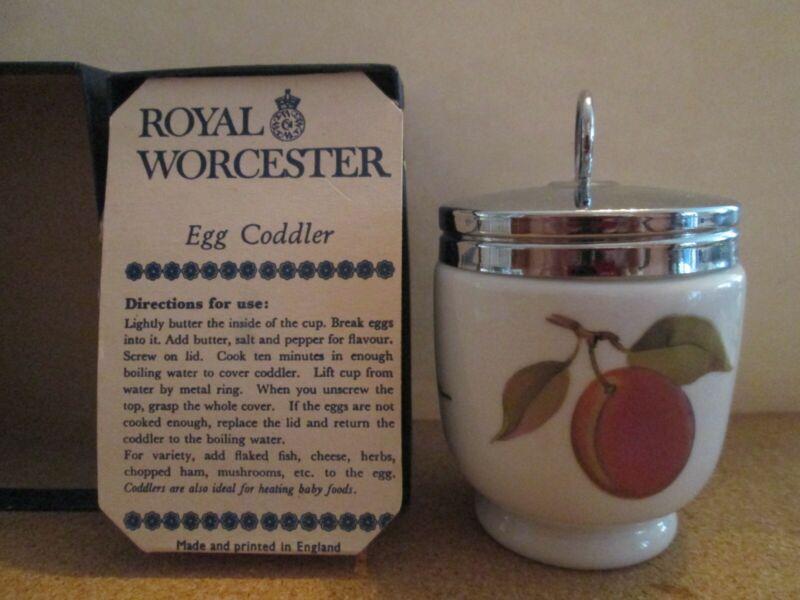 Royal Worcester Porcelain Double Egg Coddler EVESHAM Original Box w Recipes
