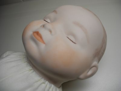 """NEW Vintage Grace S Putnam 16"""" Porcelain Bisque Sleeping Baby Doll w/ Cloth Body"""