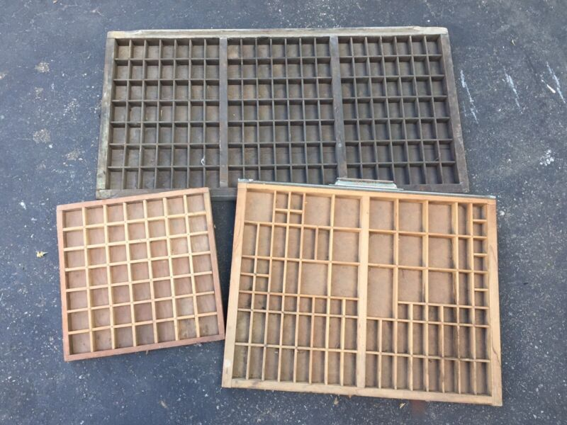 3 Antique VTG PRINTER CABINET Type Set Letterpress Wood PRINTING TRAY DRAWERS