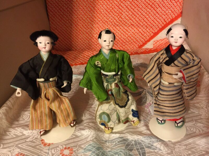 3 ANTIQUE MINI ICHIMATSU DOLLS*TRADITIONAL JAPANESE ATTIRE*GLASS EYES*TEETH*AUTH