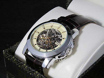 NEW MENS ELGIN AUTOMATIC MECHANICAL SILVER SKELETON FACE WATCH FG/7081