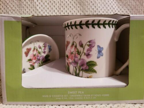 NIB Portmeirion Botanic Garden Sweet Pea Mug & Coaster Lid Set Floral