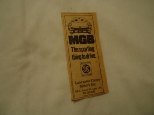 MGB British Leyland 1974 newsprint ad