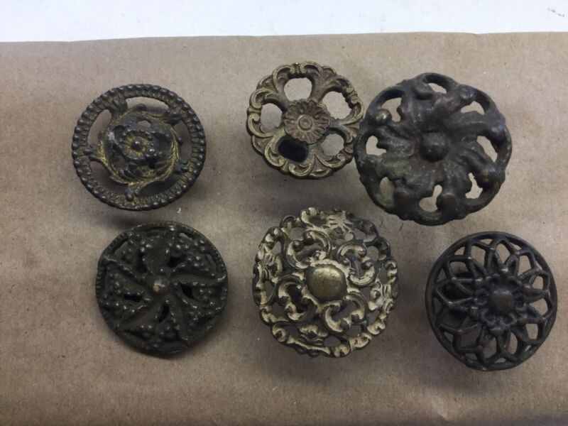 6 Antique Filagree Brass Knob Drawer Pulls