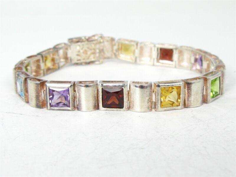 """Estate Sterling Silver 925 Natural Multi Gem Tennis Bracelet 26g 7.5""""L B26"""
