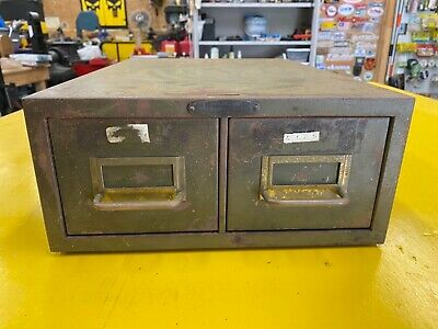Vintage 2 Drawer Metal File Cabinet Library Card Catalog Box Machinist Steel