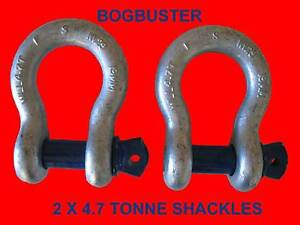 2  x  BOW SHACKLE SHACKLES 4.7T OFF ROAD RECOVERY WINCH STRAP 4X4 Beldon Joondalup Area Preview