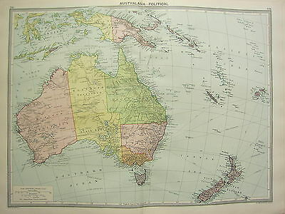1920 LARGE MAP ~ AUSTRALASIA POLITICAL NEW ZEALAND NEW GUINEA AUSTRALIA TASMANIA