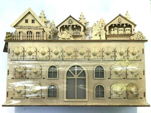 Bavarian Alpine Village Wooden Lighted Christmas Advent Calendar Drawers NWT