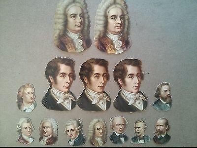 Original Vintage Famous Musicians Lot Of 14 Die Cut Paper 1 5 X 3