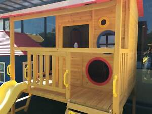Elevated Wooden Timber Cubby House Play Fort with Slide Rock Wall