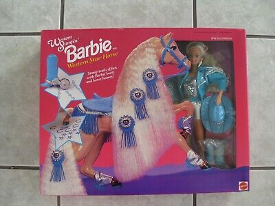 #11020 WESTERN STAMPIN BARBIE & WESTERN STAR HORSE GIFT SET (c)1993