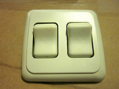 2 Gang 12 Volt On/Off/On Momentary Switches White Camper Trailer RV NOS