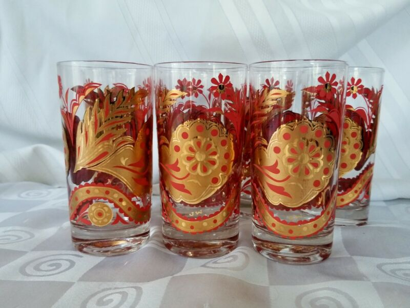 MCM J W John Wayne Red Gold Highball Glasses Floral Barware Set 7 Culver