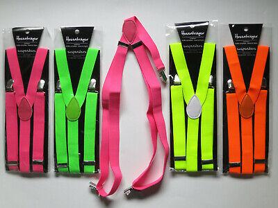 4 Hosenträger, Y-Form; NEON; pink, grün, gelb, orange (4 Stück, Farbwahl); NEU