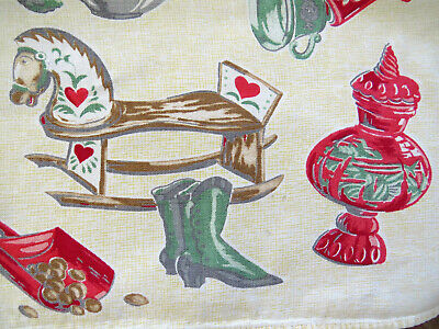 Vintage General Store Tablecloth Rocking Horse Kitchen Gadgets High Top AS IS