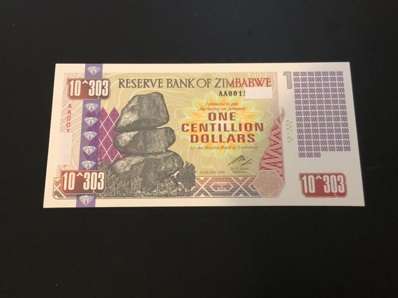 Zimbabwe 1 Centillion Dollars Banknote/Not Real Money/Fantasy Note