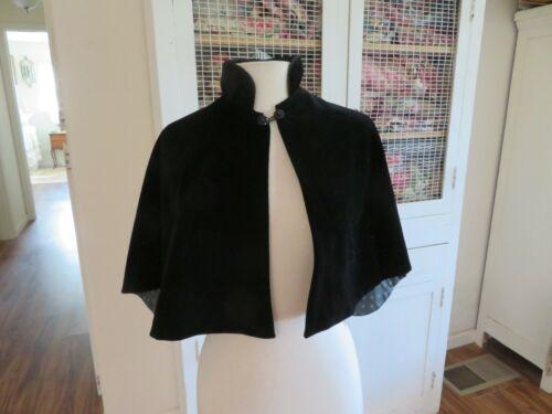 Vintage or Antique VICTORIAN Mourning Black Velvet Cape