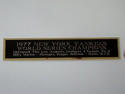 1977 New York Yankees World Series Nameplate For A Baseball Bat Case 1.25 X 6