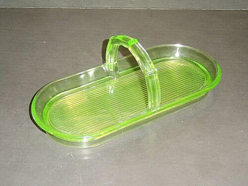 L E Smith / Greensburg Glass Co. Green Uranium Glass No. 681 Celery Tray