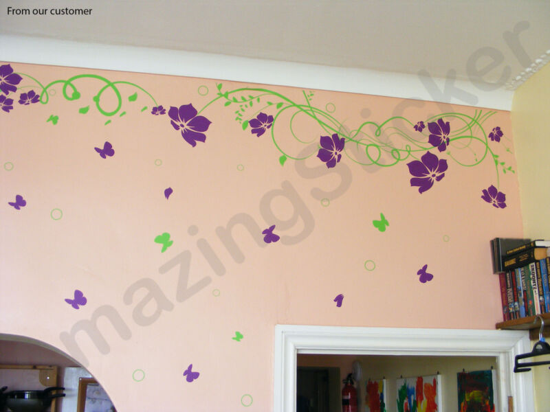 Vine Flower Butterfly Tree Art Wall Quotes / Wall Stickers / Wall Decals