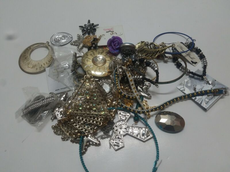 Jewelry Junk Drawer Lot Craft Repurpose Up Cycle