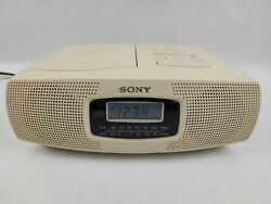 Sony ICF-CD820 Dual Alarm Clock CD AM FM Radio Compact Disc Player Tested Works