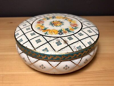 Vintage Daher Decorated Ware Floral Covered Round Tin Box Made in England