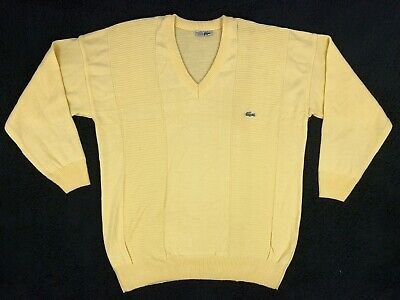 Vintage Chemise Lacoste Mens XL Solid Yellow Knit V-Neck Pullover Sweater France