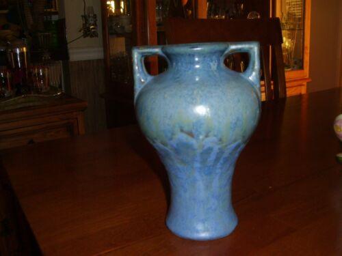 Vintage Fulper Pottery Two-Handled Blue Vase Marked