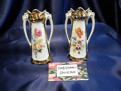 Vintage Porcelain Floral Mini Bud Vase Germany Set of Two - Mini Bud Vases