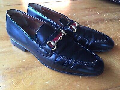 Vintage Gucci Mens Black Shoes Horsebit Loafers Size 8D/41