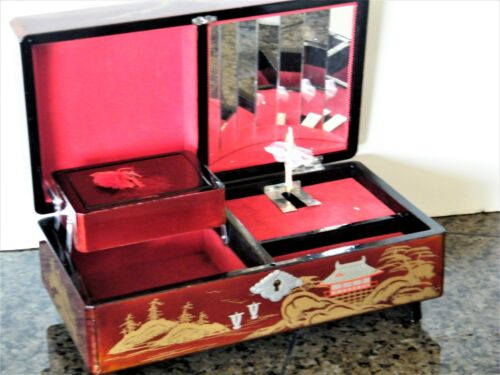Japanese Jewelry Music Red Lacquer Box Antique Oriental Laquer Japan Winds Plays