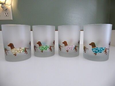 4 Culver Dachshund Frosted Glass Hawaiian Shirt Sweater Low Ball Rocks Tumblers