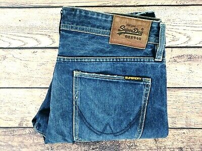 Mens SUPERDRY Officer Denim Jeans Regular Straight Leg Copper Blue | W36 L32