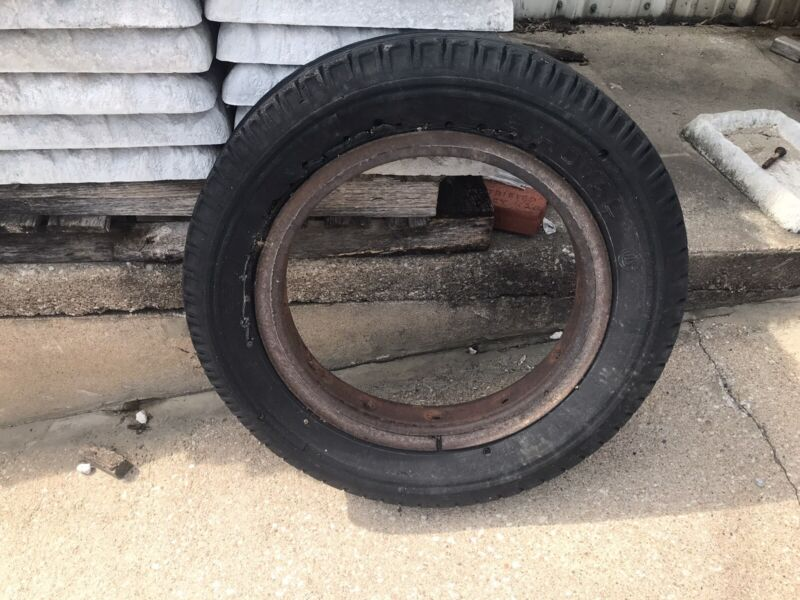Vintage Old Tire & Rusty Wheel Man Cave Garage U S Royal Tire Worn Out
