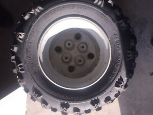 ATV tires on rims set of 4 in excellent condition