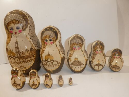 Vintage R. Ceprueb Nocag 10 PC Hand Painted/Signed Russian Nesting Doll 9.5""