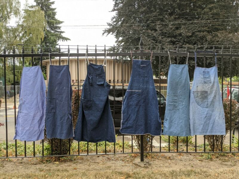 Vintage 50s 60s 70s Lot Of 6 Denim Workwear Aprons Chore Selvedge Distressed