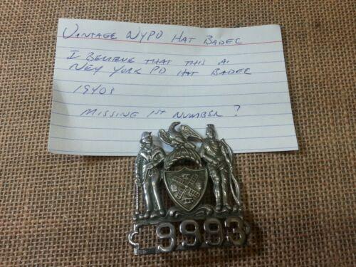 Vintage NY Police ??  1940s?? Hat Badge