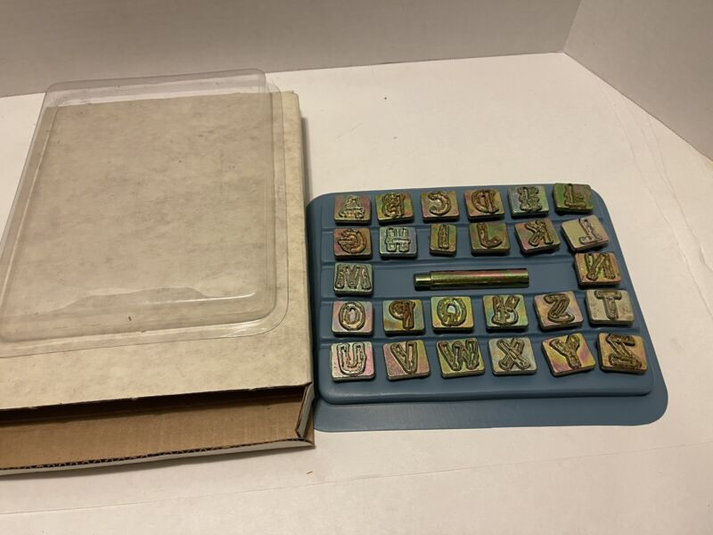 "Vintage Alphabet Leather Stamp Set Wood Grain Style 3/4"" 8138"