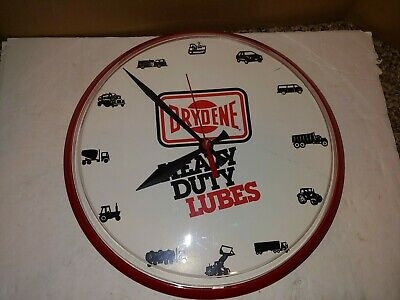 Vintage 90's/2000's Drydene Heavy Duty Lubes Clock Auto Parts Supply Store Sign
