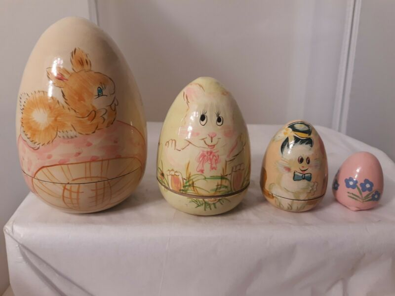 Vtg Wood Nesting Easter Eggs Pink Bunny Rabbit Floral Hand Painted Holiday Decor
