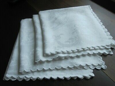 Napkins Set of 8  Dinner Size 16 12 Sq Cotton with Detailed Corners Embroidery and Applique  Formal Dining Linens White Pale Yellow