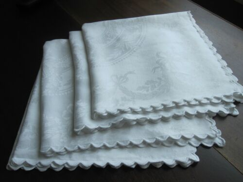 SET OF 4 GORGEOUS ANTIQUE VINTAGE WHITE DOUBLE DAMASK LINEN NAPKINS ACORNS SWAGS