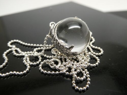 """Genuine Pool Of Light Sterling Silver 925 Floral Orb Pendant Necklace Chain 20"""""""