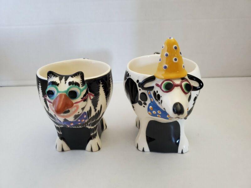 Artist Tom Hatton Signed Ceramic  Cat And Dog  Mug/Cups