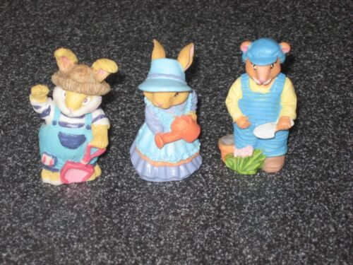 3 Vintage Highly Detailed Mini Easter Bunny Figurines Including Garden Bunny Wow