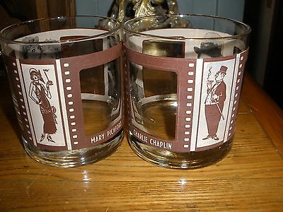 Roaring Twenties Rock Glasses Barware Lot of 2 glasses , Gold Trim Movie Stars